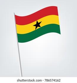 Ghana Flag with Metal Pole. Vector illustration,Ghana - Flag Series.
