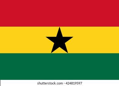 Ghana flag, official colors and proportion correctly. National Ghana flag. Flat vector illustration. EPS10.