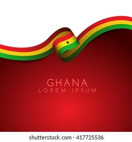 Ghana Flag Ribbon : Vector Illustration