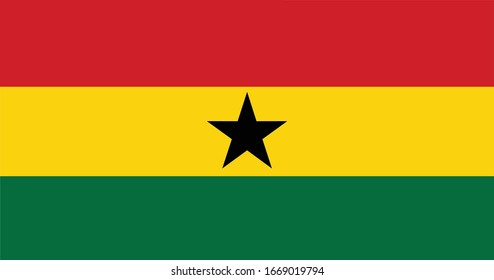 Ghana Flag Vector - Official Ghana Flag With Original Color and Size Proportion