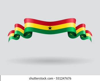 Ghana flag wavy abstract background. Vector illustration.