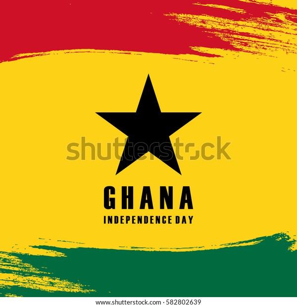 Ghana Independence Day celebration card with brush stroke background. Vector illustration.