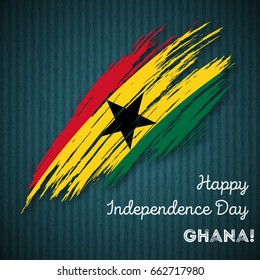 Ghana Independence Day Patriotic Design. Expressive Brush Stroke in National Flag Colors on dark striped background. Happy Independence Day Ghana Vector Greeting Card.