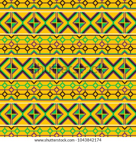 Ghana Kente Fabric African Print Tribal Stock Vector Royalty Free Beauteous African Tribal Patterns