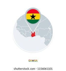 Ghana map and flag, vector map icon with highlighted Ghana