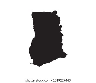 Ghana map vector, isolated on white background. black map template for web site pattern, anual report, inphographics, logo, app, ui, travel. Vector eps10.