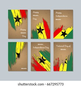 Ghana Patriotic Cards for National Day. Expressive Brush Stroke in National Flag Colors on kraft paper background. Ghana Patriotic Vector Greeting Card.