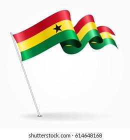 Ghana pin icon wavy flag. Vector illustration.