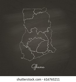 Ghana region map: hand drawn with white chalk on school blackboard texture. Detailed map of Ghana regions. Vector illustration.