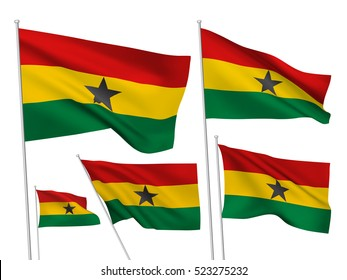 Ghana vector flags set. 5 wavy 3D cloth pennants fluttering on the wind. EPS 8 created using gradient meshes isolated on white background. Five fabric flagstaff design elements from world collection