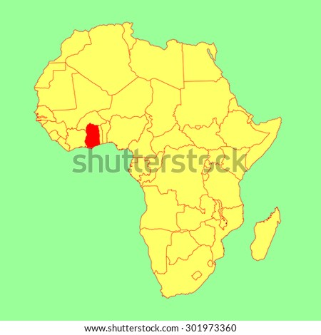Ghana In Africa Map.Ghana Vector Map Isolated On Africa Stock Vector Royalty Free