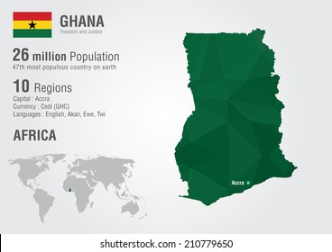 Ghana world map with a pixel diamond texture. World geography.