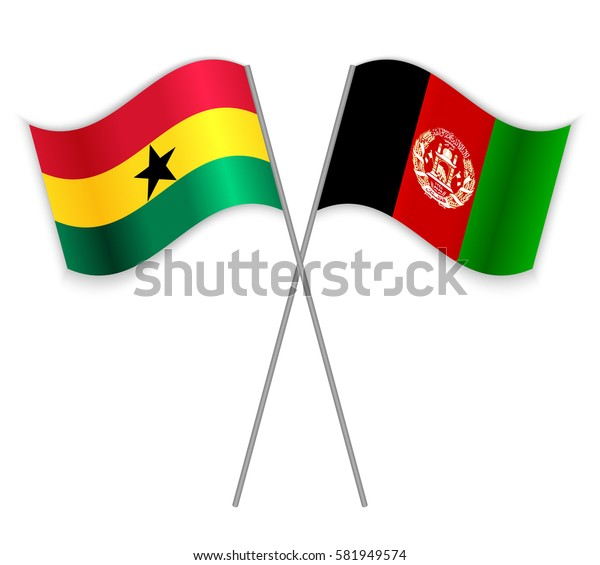 Ghanaian and Afghan crossed flags. Ghana combined with Afghanistan isolated on white. Language learning, international business or travel concept.