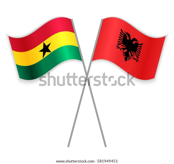 Ghanaian and Albanian crossed flags. Ghana combined with Albania isolated on white. Language learning, international business or travel concept.