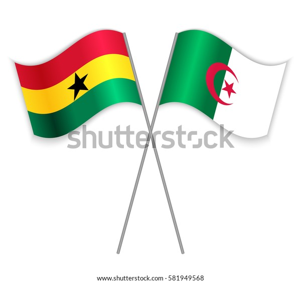 Ghanaian and Algerian crossed flags. Ghana combined with Algeria isolated on white. Language learning, international business or travel concept.