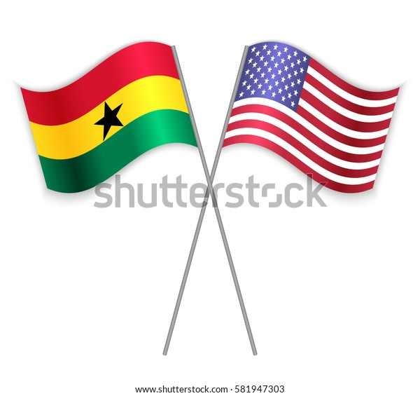 Ghanaian and American crossed flags. Ghana combined with United States of America isolated on white. Language learning, international business or travel concept.