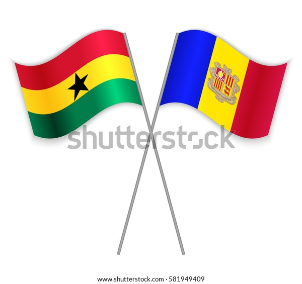 Ghanaian and Andorran crossed flags. Ghana combined with Andorra isolated on white. Language learning, international business or travel concept.