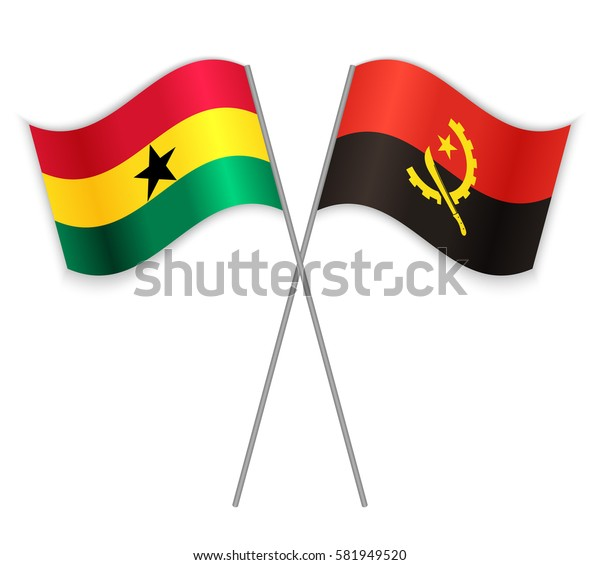 Ghanaian and Angolan crossed flags. Ghana combined with Angola isolated on white. Language learning, international business or travel concept.