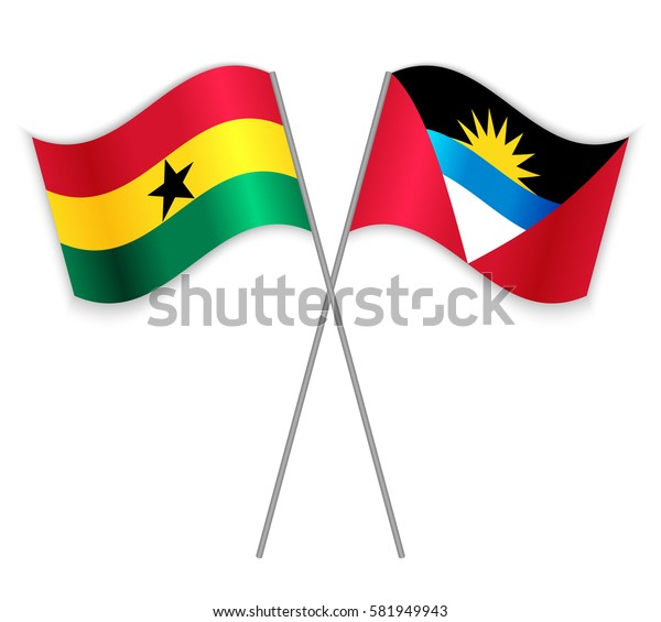 Ghanaian and Antiguan crossed flags. Ghana combined with Antigua and Barbuda isolated on white. Language learning, international business or travel concept.
