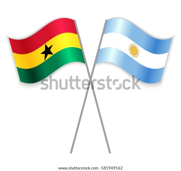 Ghanaian and Argentine crossed flags. Ghana combined with Argentina isolated on white. Language learning, international business or travel concept.