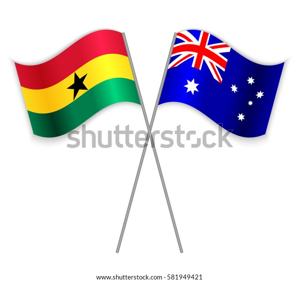 Ghanaian and Australian crossed flags. Ghana combined with Australia isolated on white. Language learning, international business or travel concept.