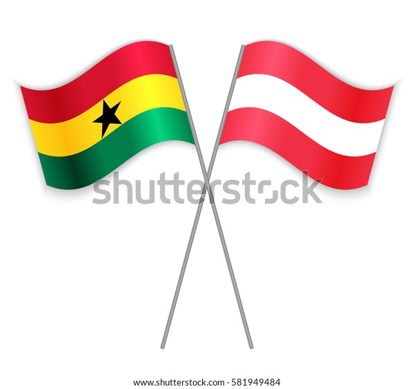 Ghanaian and Austrian crossed flags. Ghana combined with Austria isolated on white. Language learning, international business or travel concept.