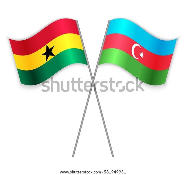 Ghanaian and Azerbaijani crossed flags. Ghana combined with Azerbaijan isolated on white. Language learning, international business or travel concept.