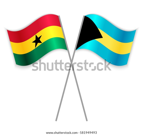 Ghanaian and Bahamian crossed flags. Ghana combined with Bahamas isolated on white. Language learning, international business or travel concept.