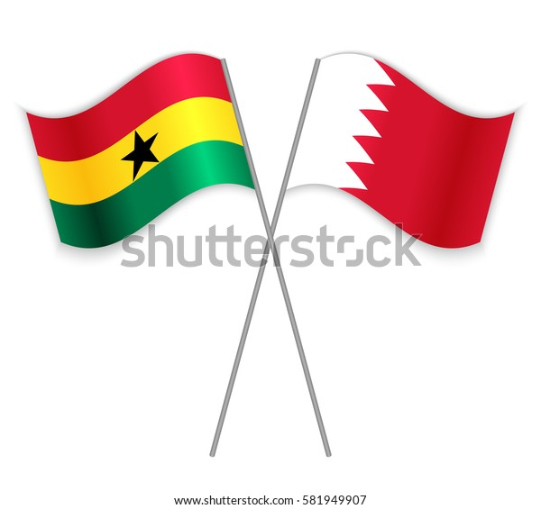 Ghanaian and Bahraini crossed flags. Ghana combined with Bahrain isolated on white. Language learning, international business or travel concept.