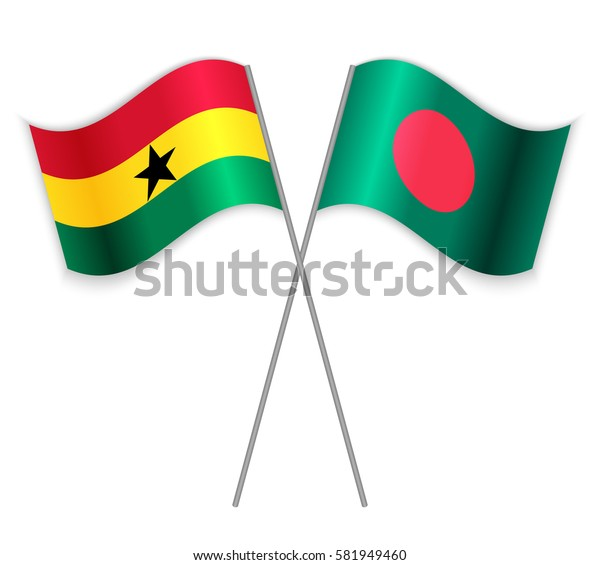 Ghanaian and Bangladeshi crossed flags. Ghana combined with Bangladesh isolated on white. Language learning, international business or travel concept.