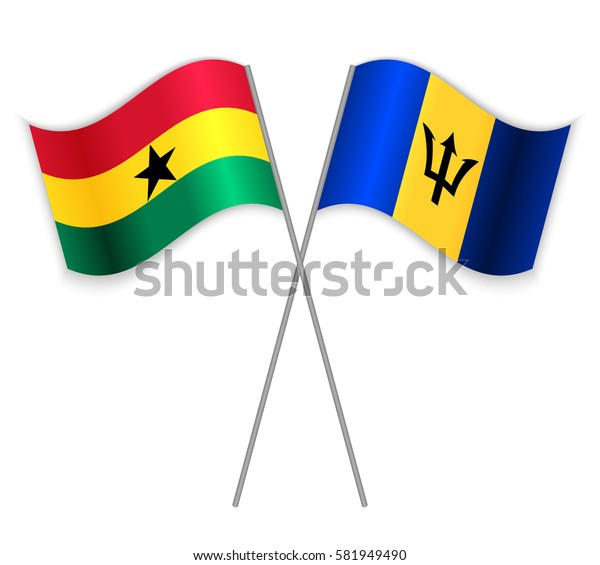 Ghanaian and Barbadian crossed flags. Ghana combined with Barbados isolated on white. Language learning, international business or travel concept.