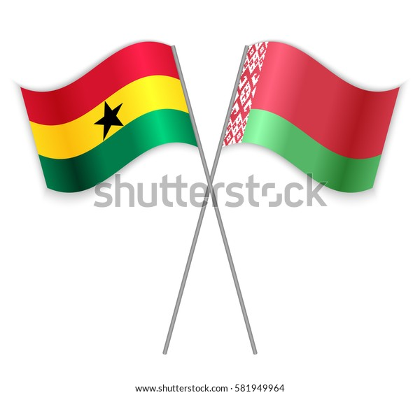 Ghanaian and Belarusian crossed flags. Ghana combined with Belarus isolated on white. Language learning, international business or travel concept.