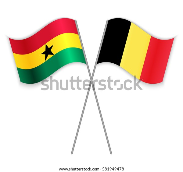 Ghanaian and Belgian crossed flags. Ghana combined with Belgium isolated on white. Language learning, international business or travel concept.