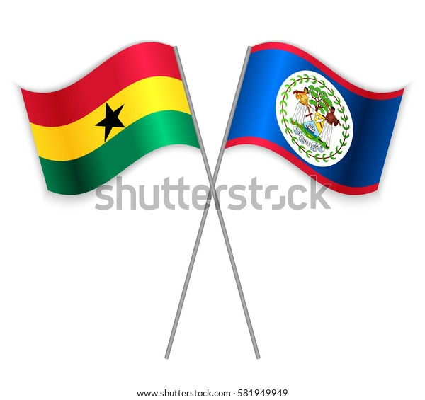 Ghanaian and Belizean crossed flags. Ghana combined with Belize isolated on white. Language learning, international business or travel concept.