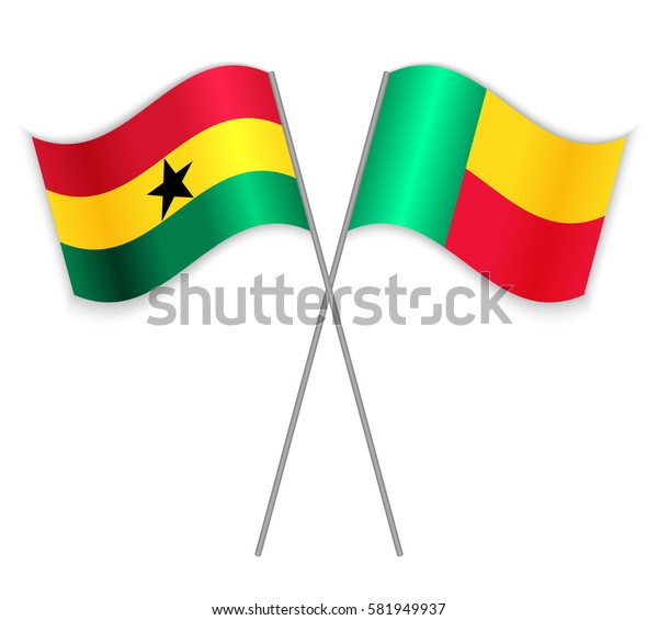 Ghanaian and Beninese crossed flags. Ghana combined with Benin isolated on white. Language learning, international business or travel concept.