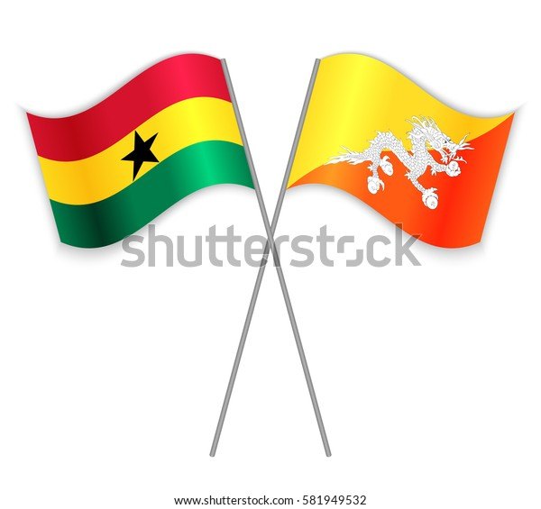 Ghanaian and Bhutanese crossed flags. Ghana combined with Bhutan isolated on white. Language learning, international business or travel concept.