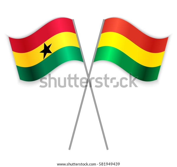 Ghanaian and Bolivian crossed flags. Ghana combined with Bolivia isolated on white. Language learning, international business or travel concept.
