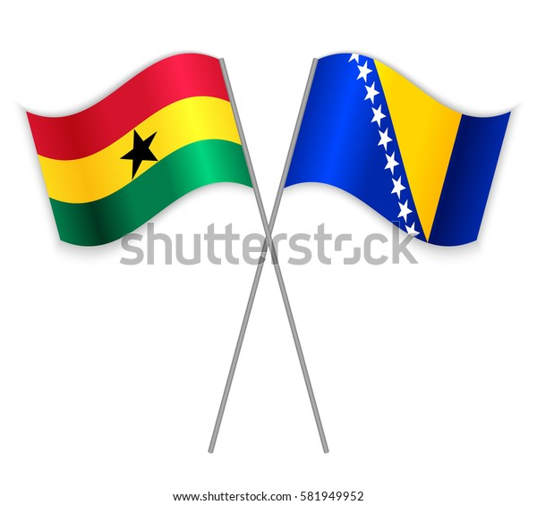 Ghanaian and Bosnian crossed flags. Ghana combined with Bosnia and Herzegovina isolated on white. Language learning, international business or travel concept.
