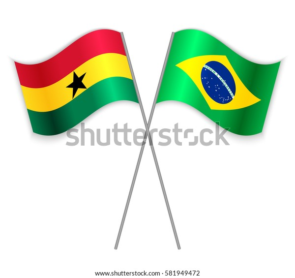Ghanaian and Brazilian crossed flags. Ghana combined with Brazil isolated on white. Language learning, international business or travel concept.