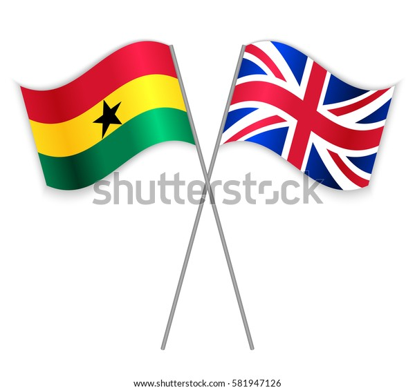Ghanaian and British crossed flags. Ghana combined with United Kingdom isolated on white. Language learning, international business or travel concept.