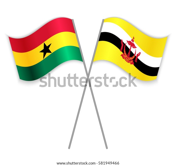 Ghanaian and Bruneian crossed flags. Ghana combined with Brunei isolated on white. Language learning, international business or travel concept.