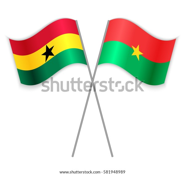 Ghanaian and Burkinabe crossed flags. Ghana combined with Burkina Faso isolated on white. Language learning, international business or travel concept.