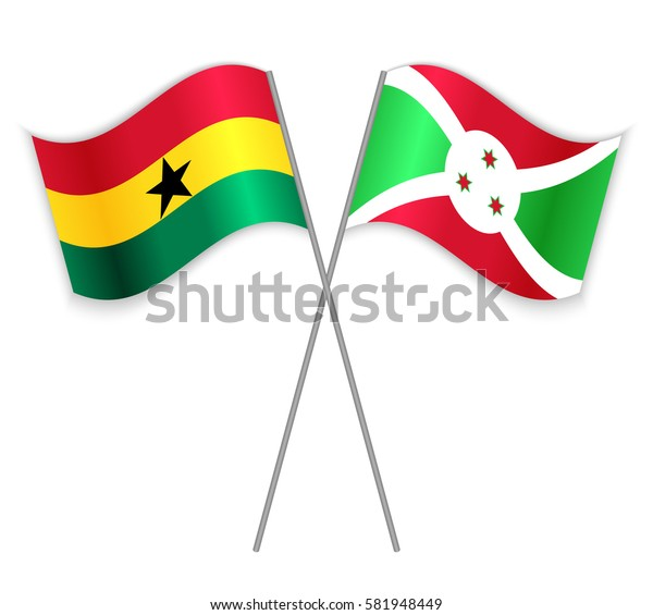 Ghanaian and Burundian crossed flags. Ghana combined with Burundi isolated on white. Language learning, international business or travel concept.