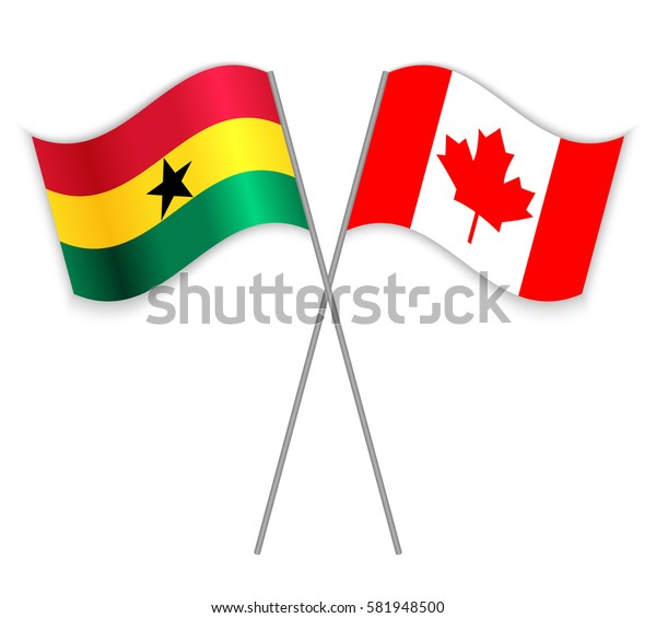 Ghanaian and Canadian crossed flags. Ghana combined with Canada isolated on white. Language learning, international business or travel concept.