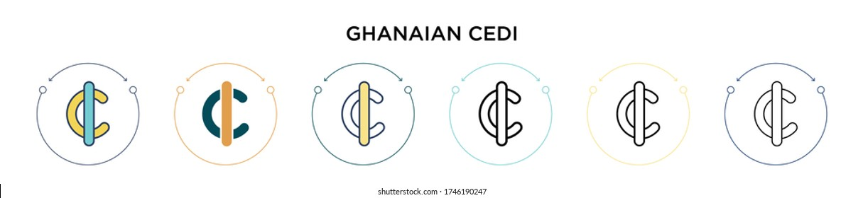 Ghanaian cedi icon in filled, thin line, outline and stroke style. Vector illustration of two colored and black ghanaian cedi vector icons designs can be used for mobile, ui, web