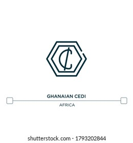 ghanaian cedi vector line icon. Simple element illustration. ghanaian cedi outline icon from africa concept. Can be used for web and mobile
