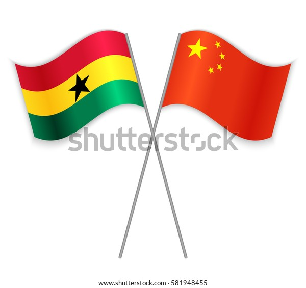 Ghanaian and Chinese crossed flags. Ghana combined with China isolated on white. Language learning, international business or travel concept.