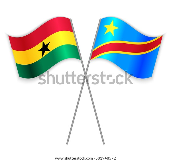 Ghanaian and Congolese crossed flags. Ghana combined with Democratic Republic of the Congo isolated on white. Language learning, international business or travel concept.