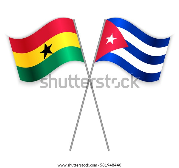 Ghanaian and Cuban crossed flags. Ghana combined with Cuba isolated on white. Language learning, international business or travel concept.