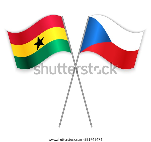 Ghanaian and Czech crossed flags. Ghana combined with Czech Republic isolated on white. Language learning, international business or travel concept.